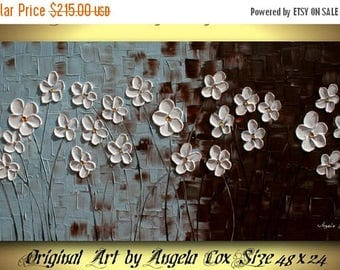 SALE Original  Modern White Flowers   Acrylic Impasto Palette Knife Painting. 48 x 24.