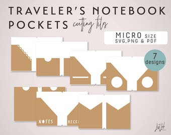 MICRO Size SVG Traveler's Notebook Pockets – Die Cutting Files (7 Designs)