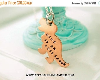 WEEKEND SALE Mine is an evil laugh Hand Stamped T Rex Dinosaur Pendant, Firefly Inspired