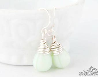 Mint Green Wire Wrapped Briolette Earrings