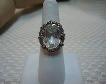 Oval Cut White Topaz Ring in Sterling Silver  #2117
