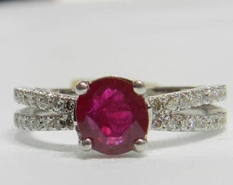 Engagement Ring 18K Ruby Ring White Gold 1 Ct Ruby Diamond Anniversary Ruby Engagement Ring July Birthday Unique Engagement Ring