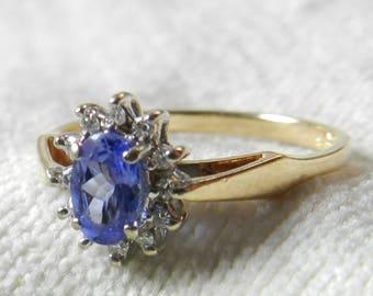 Vintage Engagement Ring Tanzanite Ring Diamond 14K Gold Tanzanite Ring Diamond Halo Tanzanite Anniversary Ring Gift for Her December