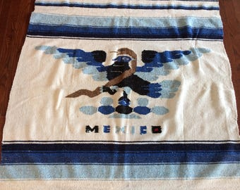 large vintage Mexican Thunderbird blanket / tapestry / wall hanging