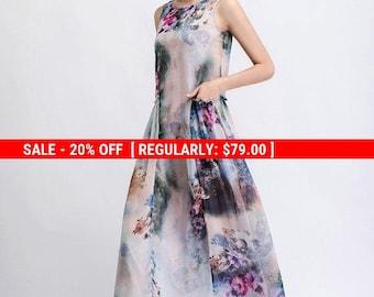 Floral Chiffon Dress - Elegant Summer Party Dress in Watercolor Flowers Print Sleeveless Long Maxi Women's Fashion C470