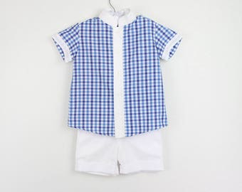Boys outfit - Boys short Sleeve  Blue gingham mao shirt and white shorts