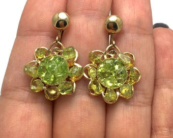 Swoboda Flower Peridot Screw Back Dangle Earrings - Gold Tone - Vintage Collection - Green Stones - Floral - August Birthday # 4234