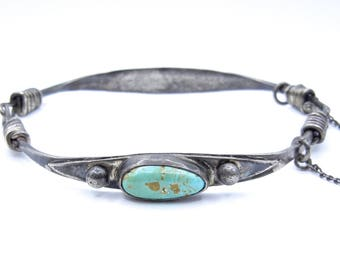 Turquoise Bracelet - Sterling Silver and Blue Green Oval Turquoise Bracelet - Native American Style - Boho - 11.2 Grams # 4432