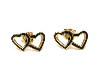 14k Enamel Double Heart Earrings - Yellow Gold and Black Enamel - Stud Earrings - Pierced - Post Back - Sweetheart - Love - Valentine # 4141
