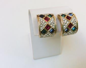 Vintage Swarovski Signed Earrings, Swarovski Clip On Earrings, 1980s Glam, Excellent Condition