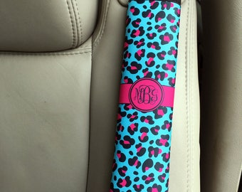 Monogrammed padded seat belt cover, Blue and hot pink cheetah print, Personalized gifts for teen daughters (1026)
