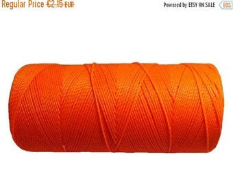 ON SALE Macrame Cord, Waxed Polyester Cord, 15 meters/16 yards Fluorescent Craft Thread, Braided Bracelet Cord - Neon Orange