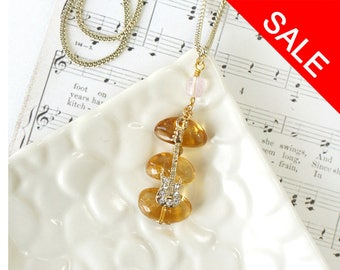 Rich Yellow Citrine Crystal Jewelry with Electric Guitar Charm, Pendant Necklace for Musician - ON SALE (WAS 36)