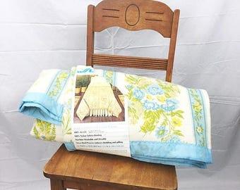SUMMER SALE Vintage NOS Floral Acrylic Blanket