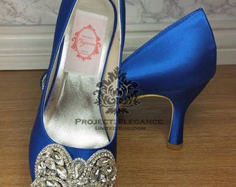 Blue Wedding Shoes, Something Blue, Crystal Wedding Shoes, Blue Bridal Shoes, low heel Wedding Shoes, High Heel Wedding shoes,  Caparina
