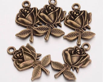 Flower Charms Pendants Antiqued Bronze Rose Pendants Bronze Charms WHOLESALE Charms BULK 50 pieces 25mm
