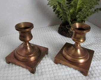 Brass Candlesticks, Pair of 70s Brass Candle Holders, Marked on Base W, Made in USA ~ BreezyJunction.etsy.com