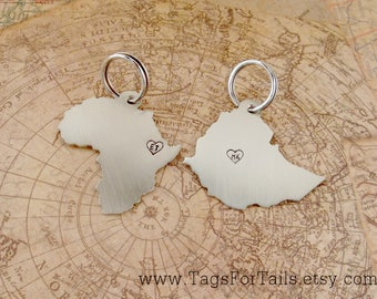 Country Keychain Set of Two- monogram hearts- Africa and Ethiopia-  Choose Your Countries-  Handmade - map key chain