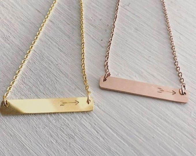 Arrow Bar Necklace in Gold and Rose Gold