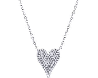 14k White Gold Diamond Pave Heart Pendant 165-292