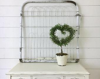 Vintage Chippy White Garden Gate . Farmhouse Mantle Decor . Fixer Upper Decor . Shabby Chic Cottage Wall . Garden Trellis