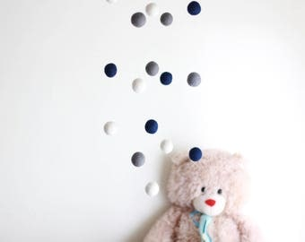 Navy Blue, White and Grey Felt Balls Mobile -- Baby Mobile with Driftwood and Felt Poms -- Rustic Natural Nursery -- Ready to Ship