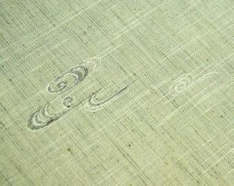 Green Vintage Japanese silk wool kimono fabric