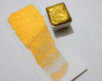 Rich Gold Metallic - Handmade Watercolor Paint - Calligraphy  - Artist Gift - Handcrafted Professional Watercolour