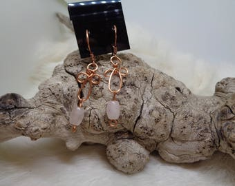 Rose Quartz & Copper wire Earrings