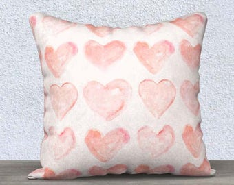 Blush Pillow Cover-Hearts, Blush Nursery Pillow, Blush Lumbar Pillow, Blush Accent Pillow, Blush Nursery Decor, Girls Pillow, Blush Bedroom
