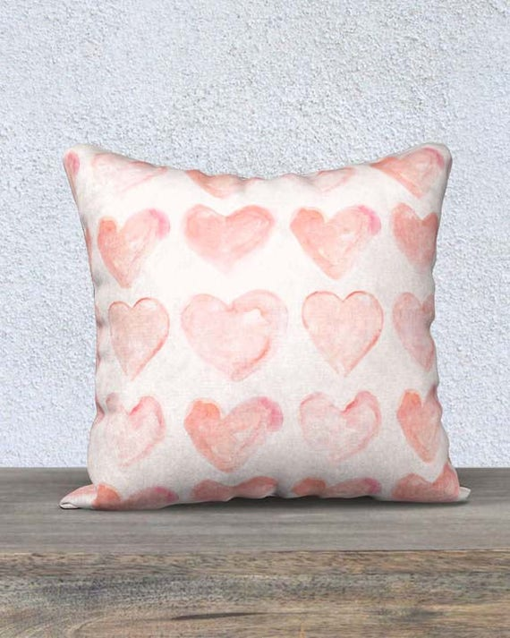 "Blush Pillow Cover with Hearts, 14""x20"", 18""18"""