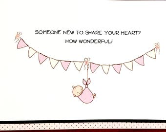 Parents Congratulations Card-New Baby Daughter-Adoption-Personalized