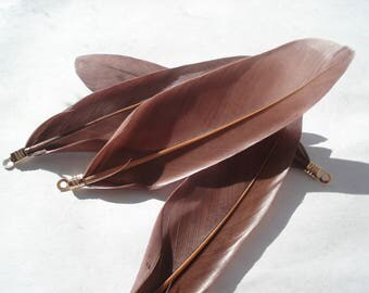 85mm Natural Dyed Goose Feather Pendants, Gold Plated Coffee Pendants, Pack of 4 Pendants, C195