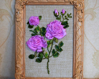 Rose Flower Ribbon Embroidery / Carved Wood Frame / Ruban Fleur / Home Wall Decor / Gift 3D