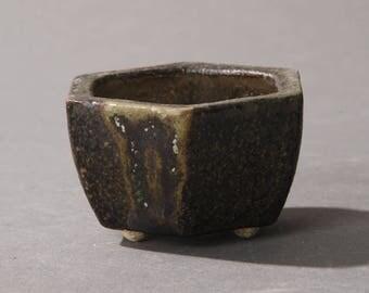 Mini Bonsai pot Hexagonal Dark green