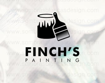 OOAK Premade Logo Design - Paint Can and Brush - Perfect for a professional painter or a contracting business
