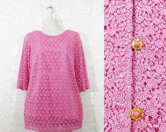 75% OFF CLEARANCE Vtg 50s/60s Crochet Lace Back Buttoned Romantic Handmade Tunic Blouse