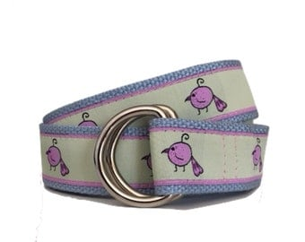 Pink Mia Bird Ribbon Belt/ Woman's D-Ring Belt/ Men's D-Ring Belt/ Canvas Belt/ Preppy Belt/ Cloth Belt/Pink Mia Bird D-Ring Belt