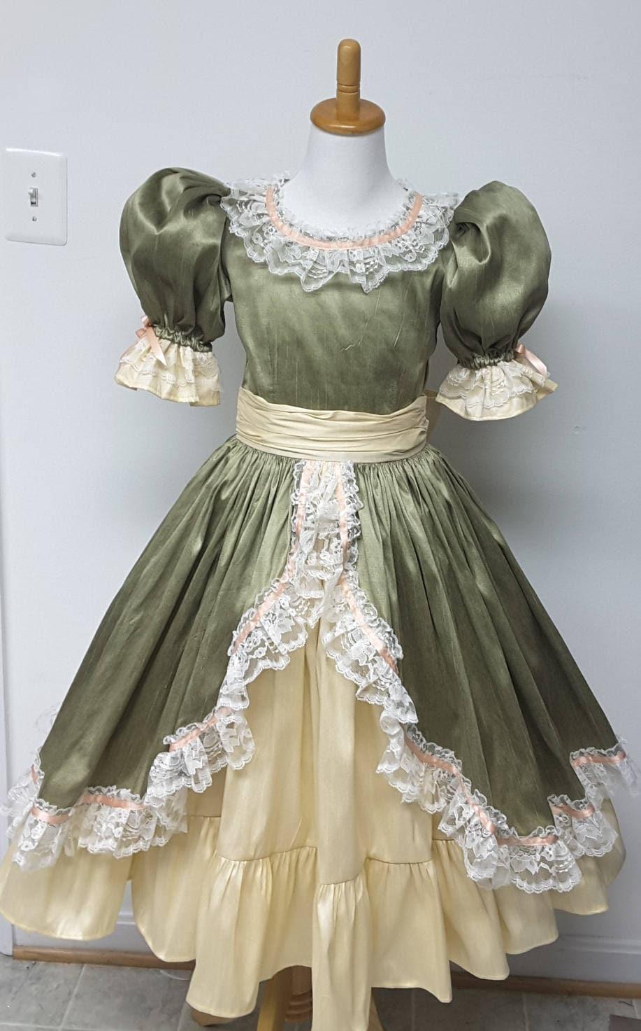 Princess Girl Dress Ruffles, Puff Sleeves, Ribbon detail ...