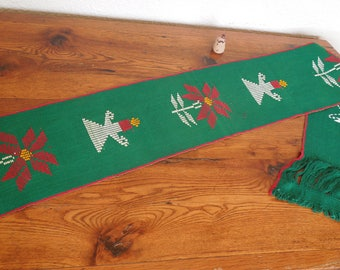 "Vintage Guatemala Textile Woven Christmas Table Runner 8.5"" x 78"""