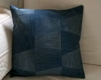 Upcycled Denim Jeans Patchwork Cushion / Pillow