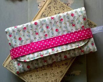 Green and White Striped Floral Glasses Case / Specs case / Pouch / Purse / Bag / Eye glass case
