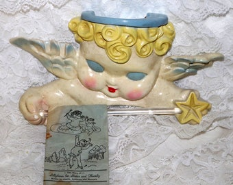 Vintage Lillykims Cherub Bath Accessory - 1940/50s - Chalkware - Angel - Helps Teach Health, Neatness and Manners - Original Pamphlet