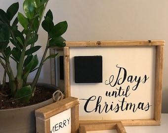 READY TO SHIP- Days til Christmas Countdown, Christmas Decor, Christmas Gift, Christmas Count Down