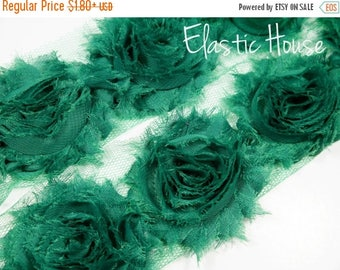 "Summer SALE 10% OFF 2.5"" Shabby Rose Trim-  Dark Green Color- Chiffon Trim - Hair Accessories Supplies"