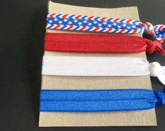 Red White blue Elastic Hair Ties, Patriotic, 4th of July, Memorial Day, Labor Day, Independence Day, Ponytail Holder, FOE Hair Ties