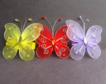 Butterfly Hair Clips,Barrette, Butterfly Hair Accessories, Hairclip, Yellow Red Lilac Butterflies Hair Ornament
