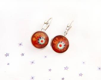 Sleeper earrings Murano glass mouse steel resin
