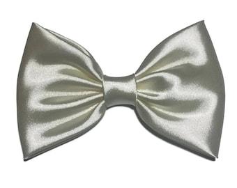 Grey Hair Bow, Satin Hair Bow Clip, Bows For Women, Kawaii Bows, Handmade Bow, Satin Fabric Bow, Lolita, Big Bow, Baby Girl Bow, Grey 040