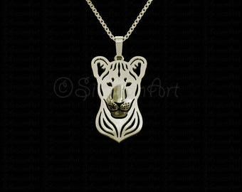 Lion cub head - gold pendant and necklace.